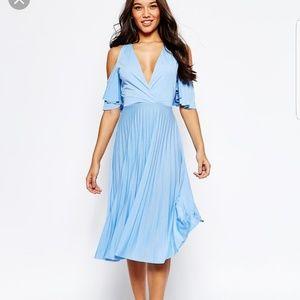 NWT ASOS blue midi dress SZ 2 cold off shoulder